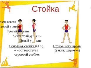 Стойка Основная стойка (О.с.) – соответствует строевой стойке Стойка ноги вро