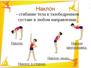 Наклон - сгибание тела в тазобедренном суставе в любом направлении. Наклон На
