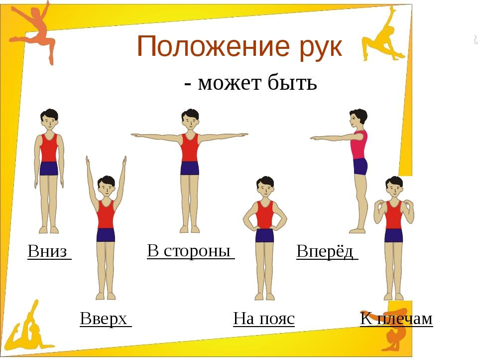 Положение рук - может быть Вниз К плечам В стороны Вверх На пояс Вперёд