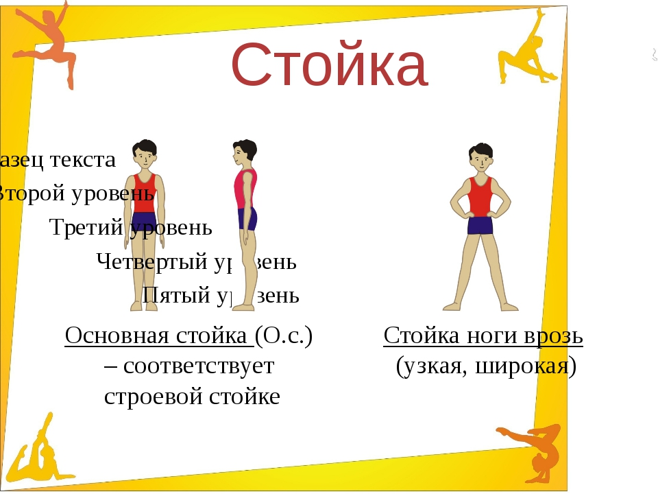 Стойка Основная стойка (О.с.) – соответствует строевой стойке Стойка ноги вро...