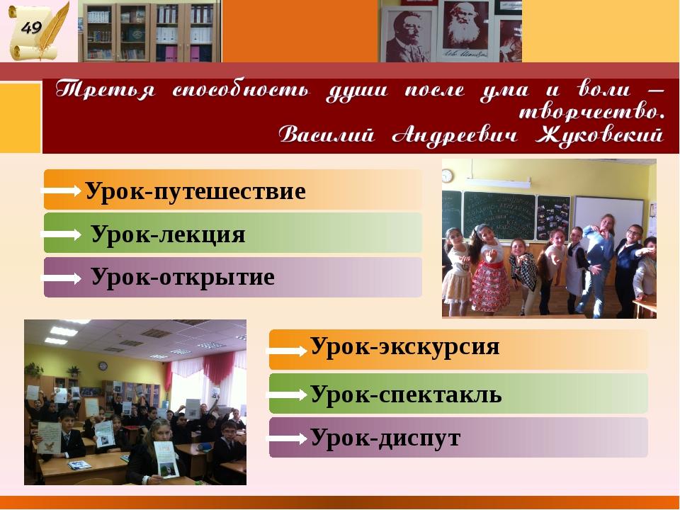 Урок-путешествие Урок-лекция Урок-открытие Урок-спектакль Урок-диспут Урок-эк...