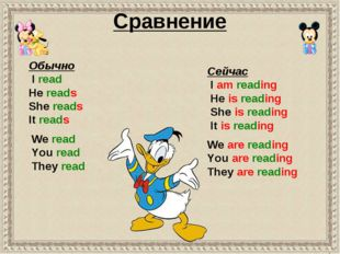 Cравнение We read You read They read Обычно I read He reads She reads It read