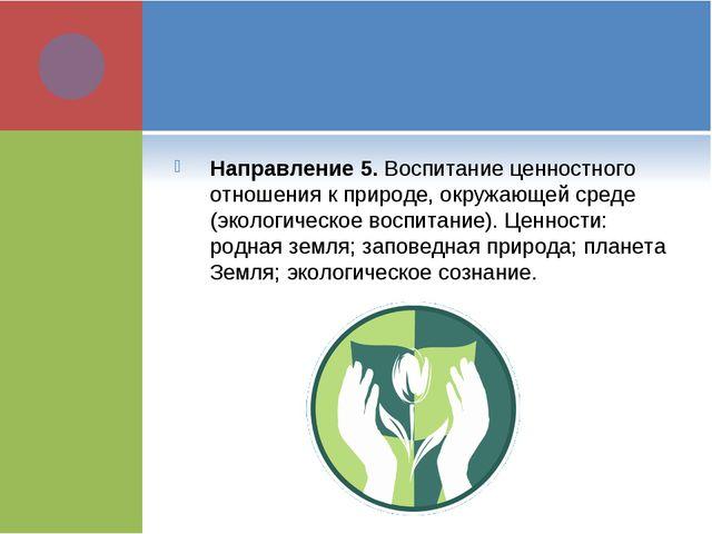 Направление 5. Воспитание ценностного отношения к природе, окружающей среде (...
