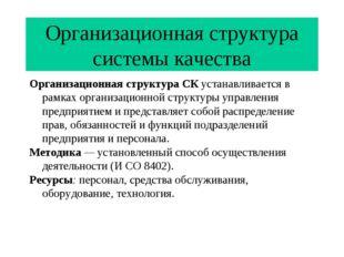 Организационная структура системы качества Организационная структура СК устан