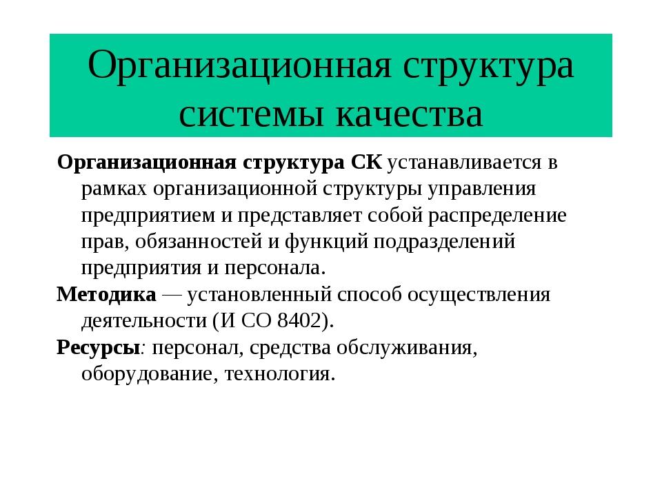 Организационная структура системы качества Организационная структура СК устан...