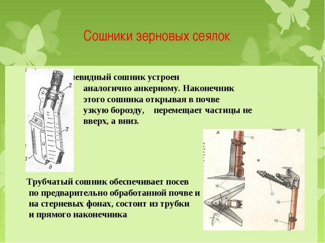 Сошники зерновых сеялок Килевидный сошник устроен аналогично анкерному. Након...