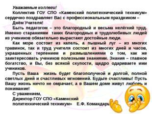 Уважаемые коллеги! Коллектив ГОУ СПО «Каменский политехнический техникум» сер