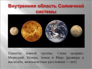 Планеты земной группы. Слева направо: Меркурий, Венера, Земля и Марс (размеры