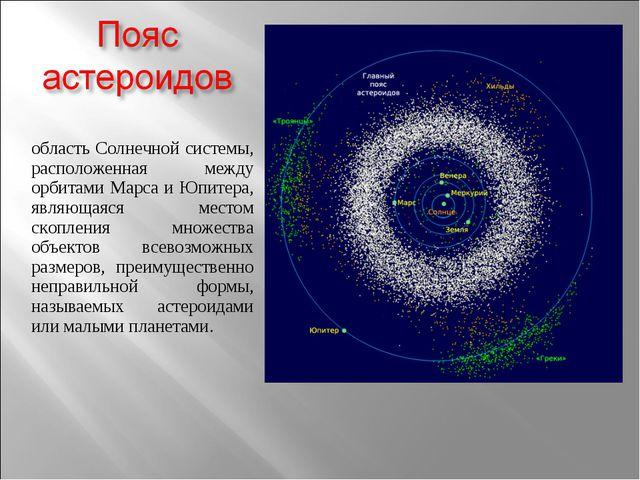 область Солнечной системы, расположенная между орбитами Марса и Юпитера, явля...