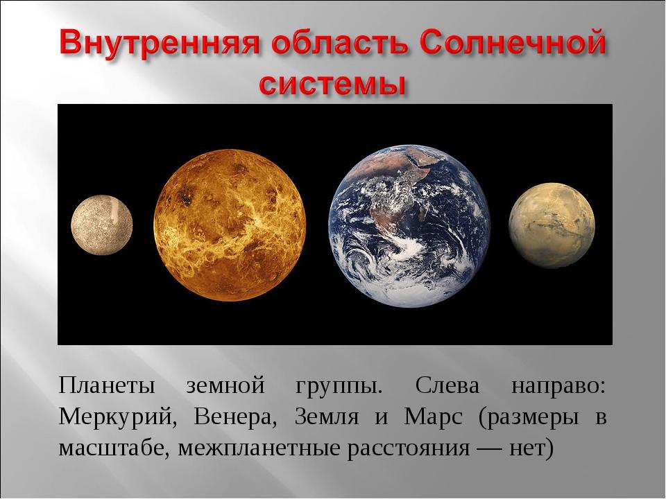 Планеты земной группы. Слева направо: Меркурий, Венера, Земля и Марс (размеры...