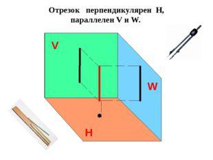 Отрезок расположен наклонно к плоскостям проекций (Н, W) Отрезок изображаетс