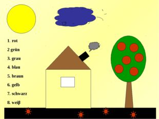 3 1. rot 2 grün 3. grau 4. blau 5. braun 6. gelb 7. schwarz 8. weiβ 6 4 2 2