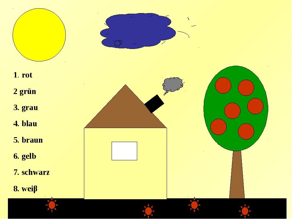 3 1. rot 2 grün 3. grau 4. blau 5. braun 6. gelb 7. schwarz 8. weiβ 6 4 2 2...