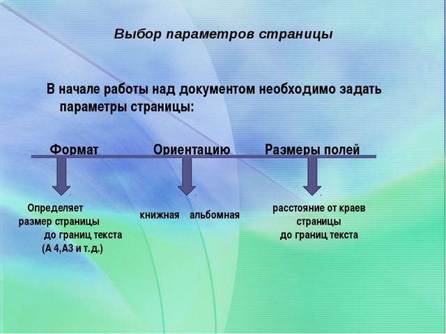 Выбор параметров страницы В начале работы над документом необходимо задать п...
