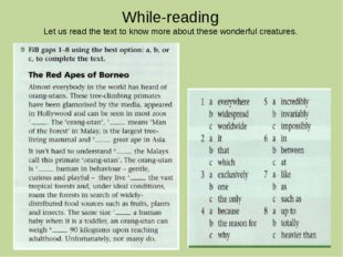 While-reading Let us read the text to know more about these wonderful creatur