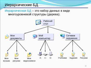 * Иерархические БД Иерархическая БД – это набор данных в виде многоуровневой