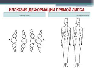 ИЛЛЮЗИЯ ДЕФОРМАЦИИ ПРЯМОЙ ЛИПСА Изображение иллюзии Пример применения в одежде