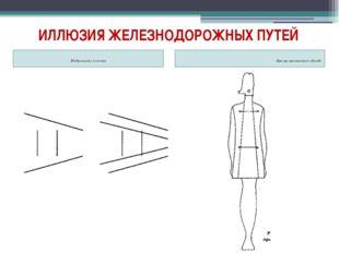 ИЛЛЮЗИЯ ЖЕЛЕЗНОДОРОЖНЫХ ПУТЕЙ Изображение иллюзии Пример применения в одежде