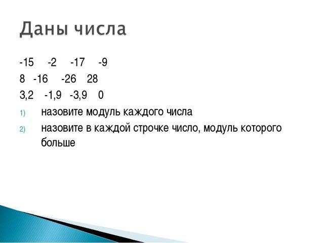 -15 -2 -17 -9 8 -16 -26 28 3,2 -1,9 -3,9 0 назовите модуль каждого числа назо...