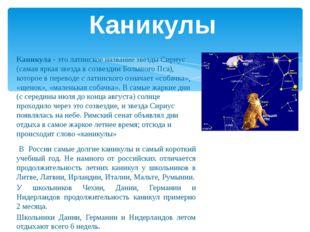 Каникула - это латинское название звезды Сириус (самая яркая звезда в созвезд