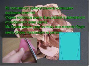 Из полученного прямоугольника ножницами вырезаем лепестки. Форма лепестков мо