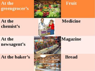 Atthe greengrocer's Fruit Atthe chemist's Medicine At the newsagent's Magazin