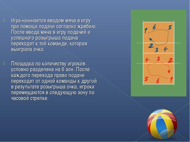 Игра начинается вводом мяча в игру при помощи подачи согласножребию. После в...
