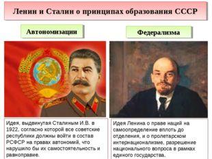 Ленин и Сталин о принципах образования СССР Автономизации Федерализма Идея, в