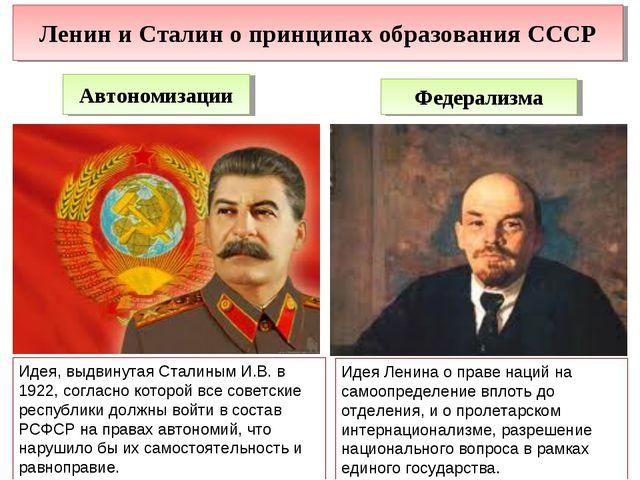 Ленин и Сталин о принципах образования СССР Автономизации Федерализма Идея, в...