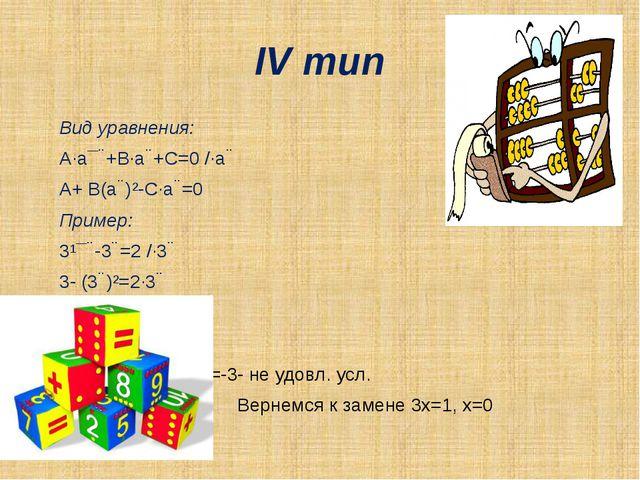 IV тип Вид уравнения: A·a¯ˣ+B·aˣ+C=0 /·aˣ A+ B(aˣ)²-C·aˣ=0 Пример:...