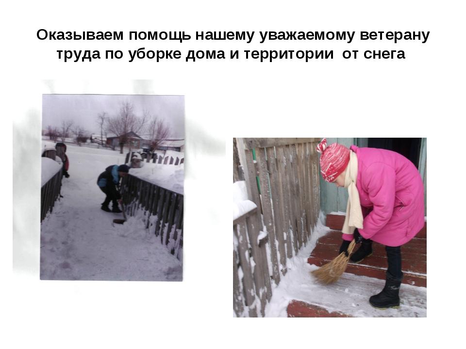 Оказываем помощь нашему уважаемому ветерану труда по уборке дома и территории...