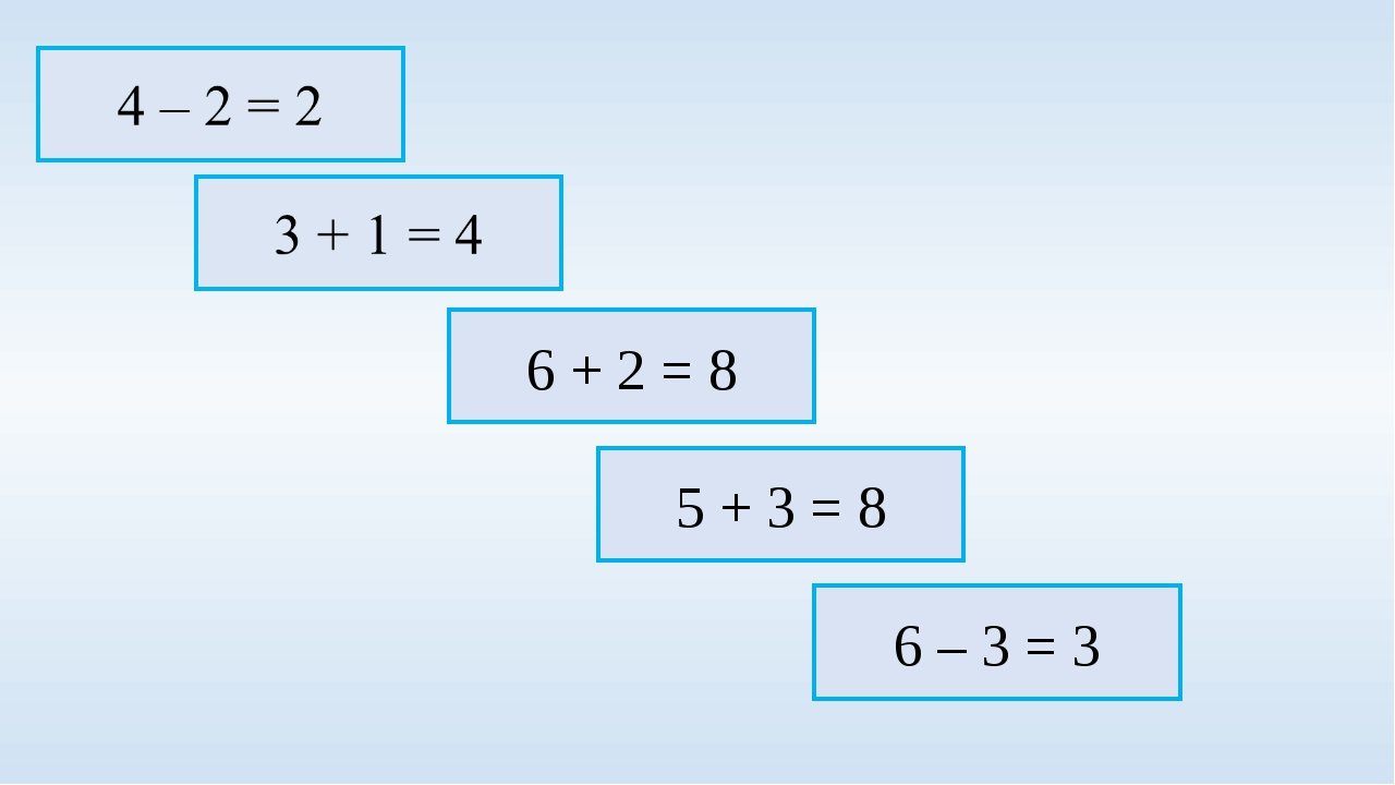 5 + 3 = 8 6 + 2 = 8 6 – 3 = 3