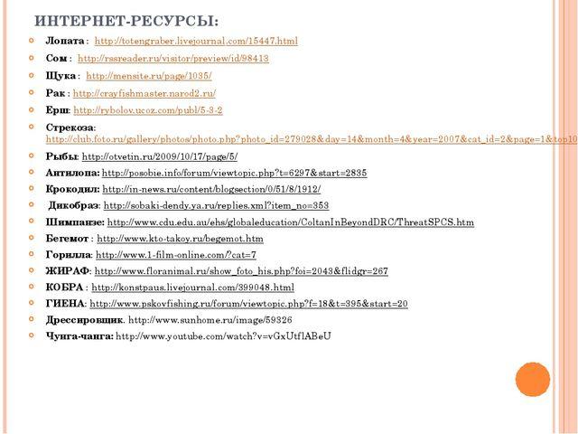 ИНТЕРНЕТ-РЕСУРСЫ: Лопата : http://totengraber.livejournal.com/15447.html Сом...