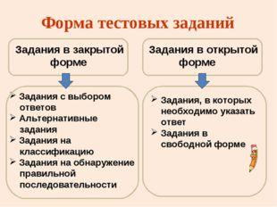 Форма тестовых заданий Задания в закрытой форме Задания с выбором ответов Аль