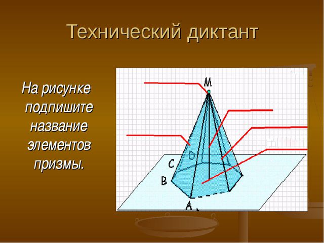 Технический диктант На рисунке подпишите название элементов призмы.