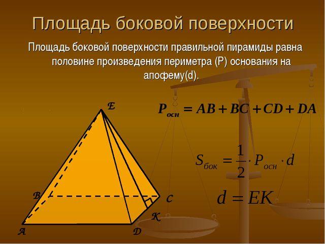 Площадь боковой поверхности Площадь боковой поверхности правильной пирамиды р...
