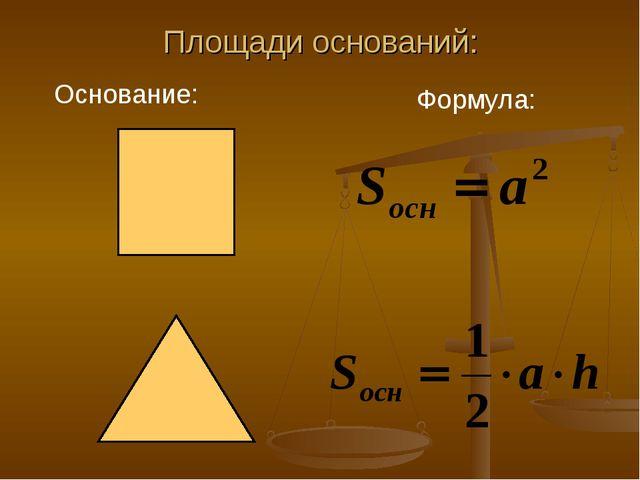 Площади оснований: Основание: Формула: