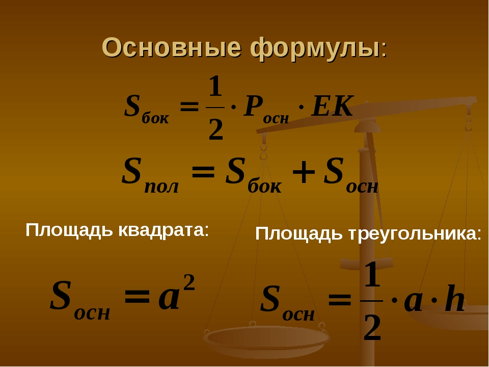 Основные формулы: Площадь квадрата: Площадь треугольника: