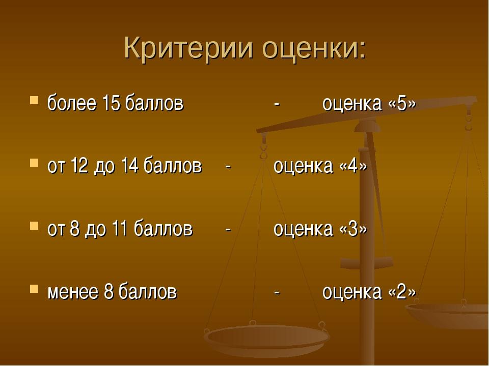 Критерии оценки: более 15 баллов -оценка «5» от 12 до 14 баллов-оценка «...