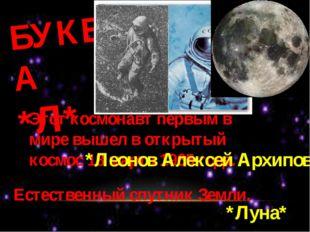 БУКВА *Л* Этот космонавт первым в мире вышел в открытый космос 18 марта 1965