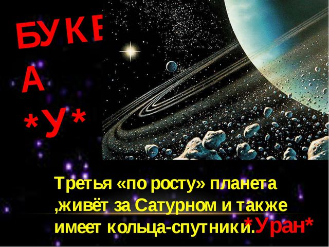 БУКВА *У* Третья «по росту» планета ,живёт за Сатурном и также имеет кольца-с...