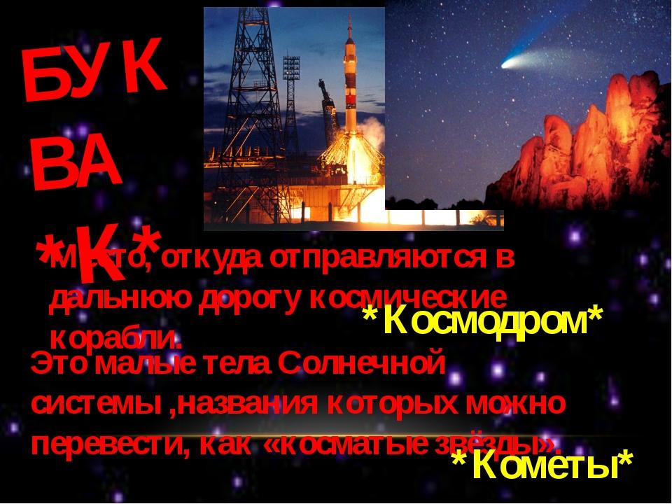 БУКВА *К* Место, откуда отправляются в дальнюю дорогу космические корабли. *К...