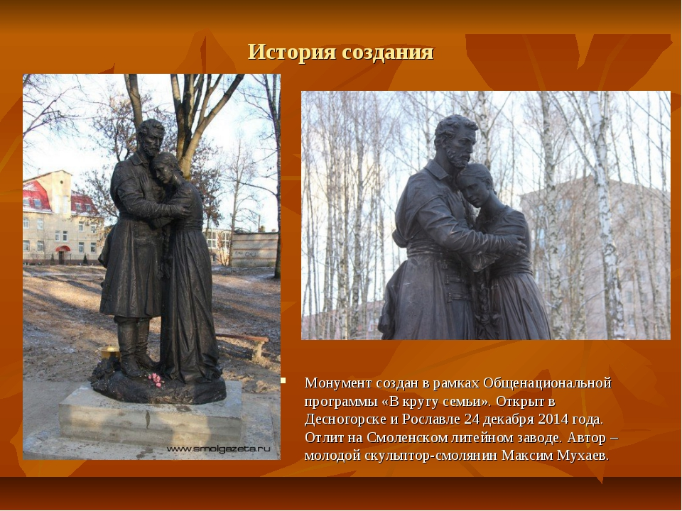 История создания Монумент создан в рамках Общенациональной программы «В кругу...