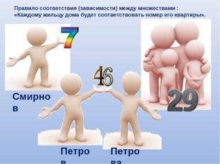 Смирнов Петров Правило соответствия (зависимости) между множествами : «Каждом