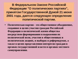 """В Федеральном Законе Российской Федерации """"О политических партиях"""", принятом"""