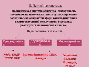 5. Партийная система. Политическая система общества -совокупность различных п