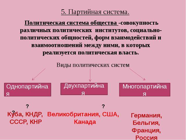 5. Партийная система. Политическая система общества -совокупность различных п...
