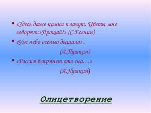 Олицетворение «Здесь даже камни плачут. Цветы мне говорят:»Прощай!» (С.Есенин