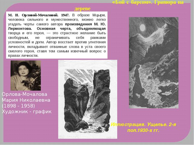 «Бой с барсом». Гравюра на дереве М. Н. Орловой-Мочаловой. 1947. В образе Мц...