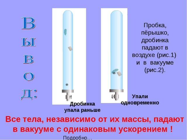 Все тела, независимо от их массы, падают в вакууме с одинаковым ускорением !...